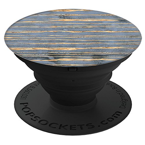Sassy Southern Charm & Grace Unique Gold Stripes on Trendy Blue PopSockets Stand for Smartphones and (Grace Stripe)
