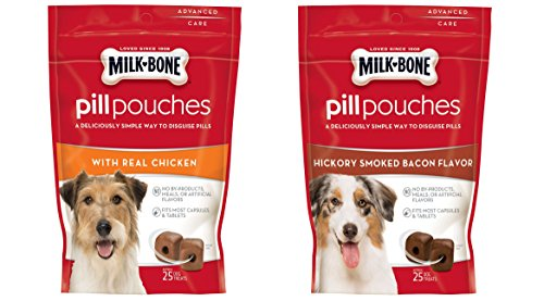 Milk - Bone Variety Pill Pouches with Real Chicken & Hickory Smoke Bacon Flavor – Each Pack 6 oz/Approx 25 Dog Treats