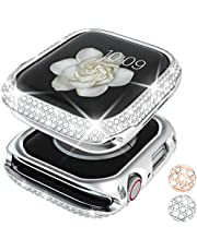 Goton Bling Case Compatible for Apple Watch Case 40mm SE/Series 6 5 4, Women Girl Luxury Sparkling Crystal Diamond Stainless Metal Bezel Case Cover for iWatch SE/Series 6 5 4 (Silver, 40mm)