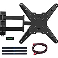 WALI Full Motion Articulating TV Wall Mount Bracket for most 26-50 inch LED, LCD, Flat Screen TVs w/VESA up to 400 x 400 - 20' Extension (WL-MA4602) Black