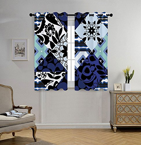 iPrint Stylish Window Curtains,Shabby Chic,Flower Classic Petals in Patchwork Pattern with Gothic and Arabesque Effects,Multicolor,2 Panel Set Window Drapes,for Living Room Bedroom Kitchen - Curtains Shabby Patchwork