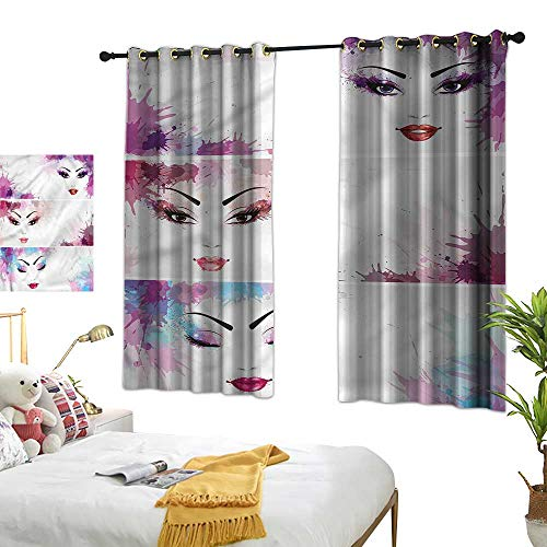 (G Idle Sky Polyester Curtain Modern Children's Bedroom Curtain Glam Woman Face Makeup Blots 72