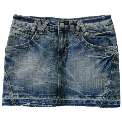 HRYfashion Women Slim Fit Striking Acid Denim Skirt HRYDS2605-BLUE-S (US XS/S)