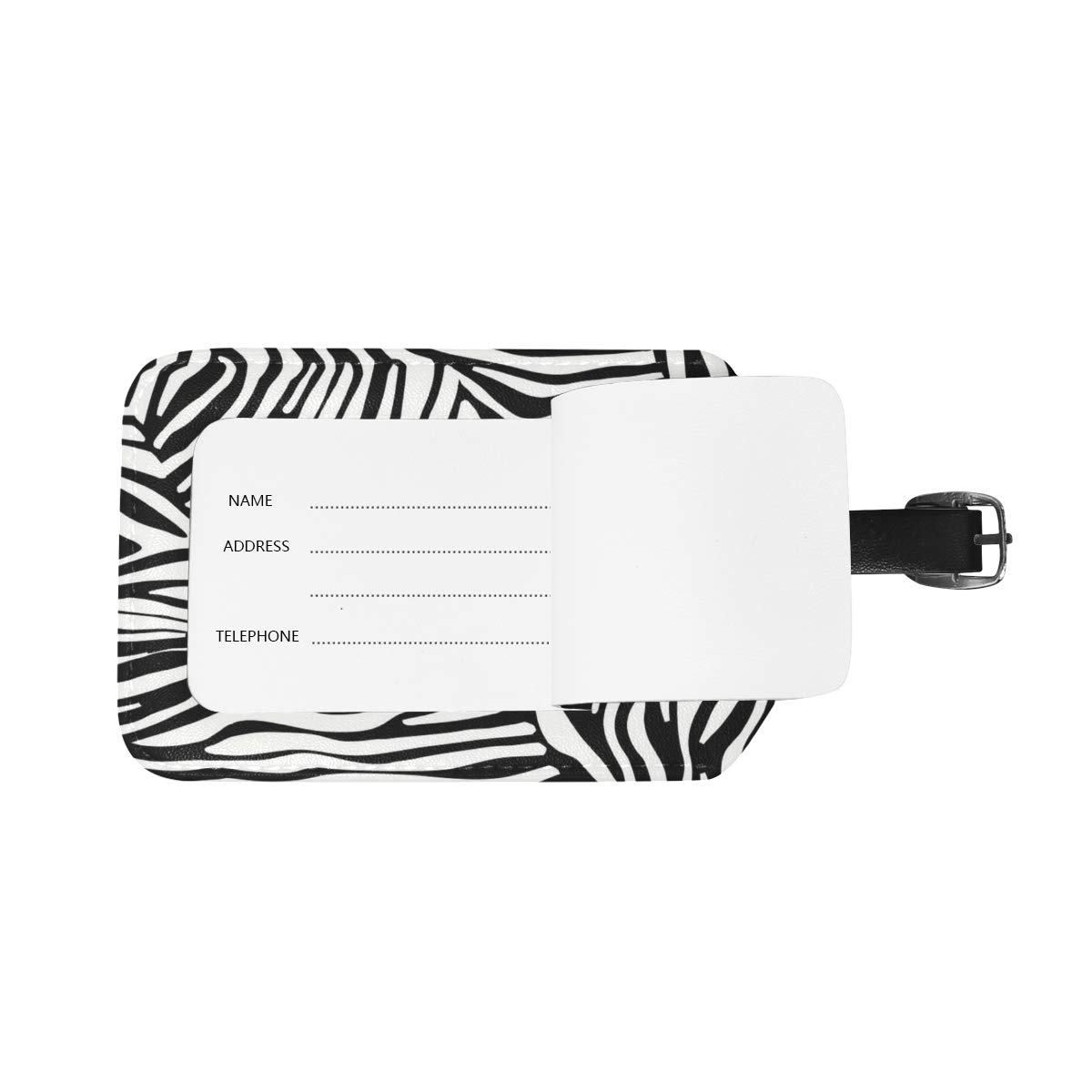 Aibileen Girl Fashion Zebra Stripe Luggage Tag Travel ID Label Leather for Baggage Suitcase 1 Piece