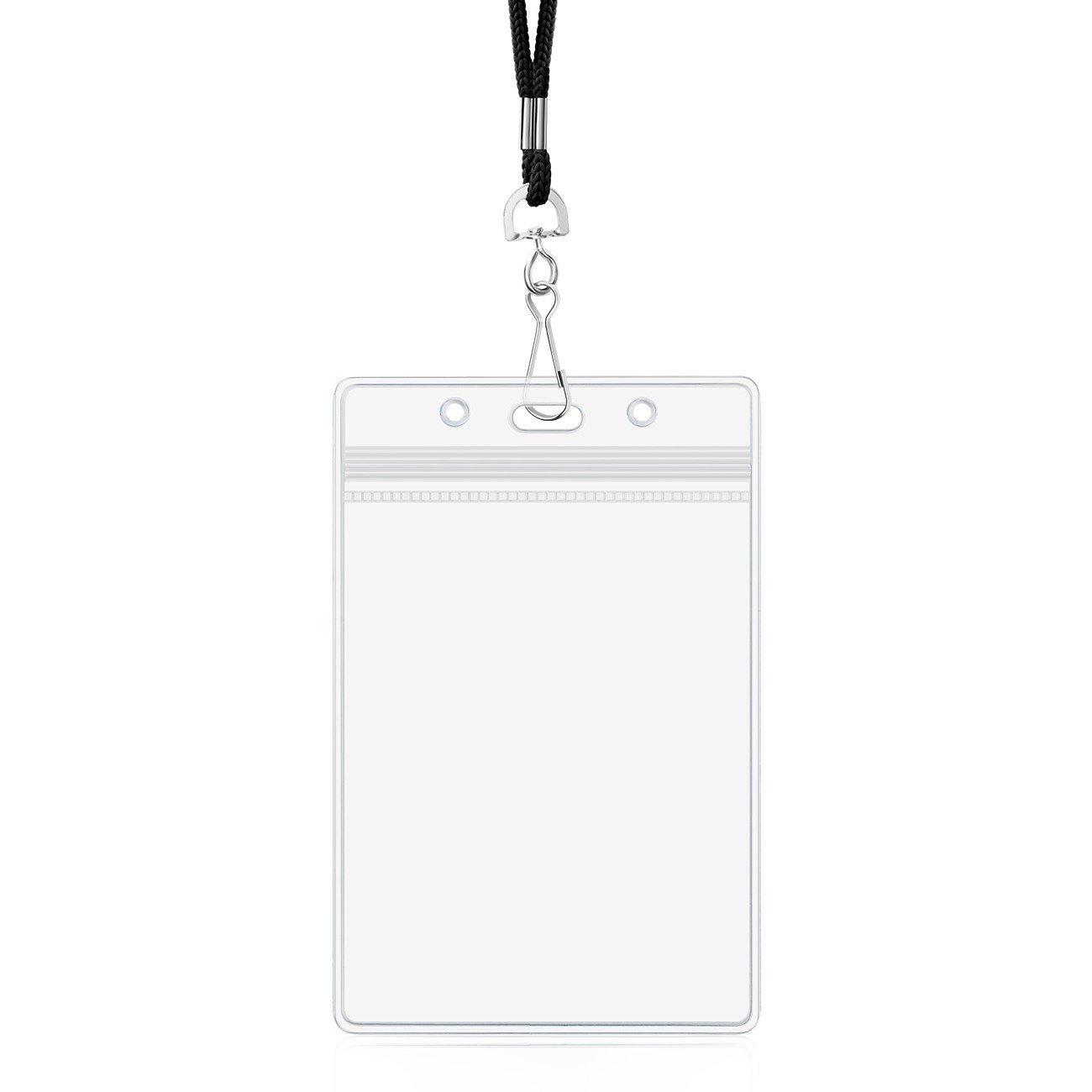 Badge Holder with Lanyard Vertical ID Card Holder Clear Plastic Name Tag Holders Waterproof by ZHEGUI (Satin Black, 25 Pack) by ZHEGUI (Image #6)