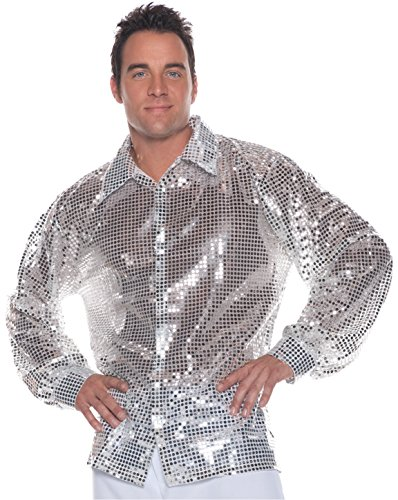 Men's Disco Costume - Sequin Shirt, Silver, X-Large -