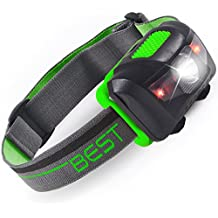 Best 120 Waterproof Headlamp with 4-Modes (White and Red Leds)
