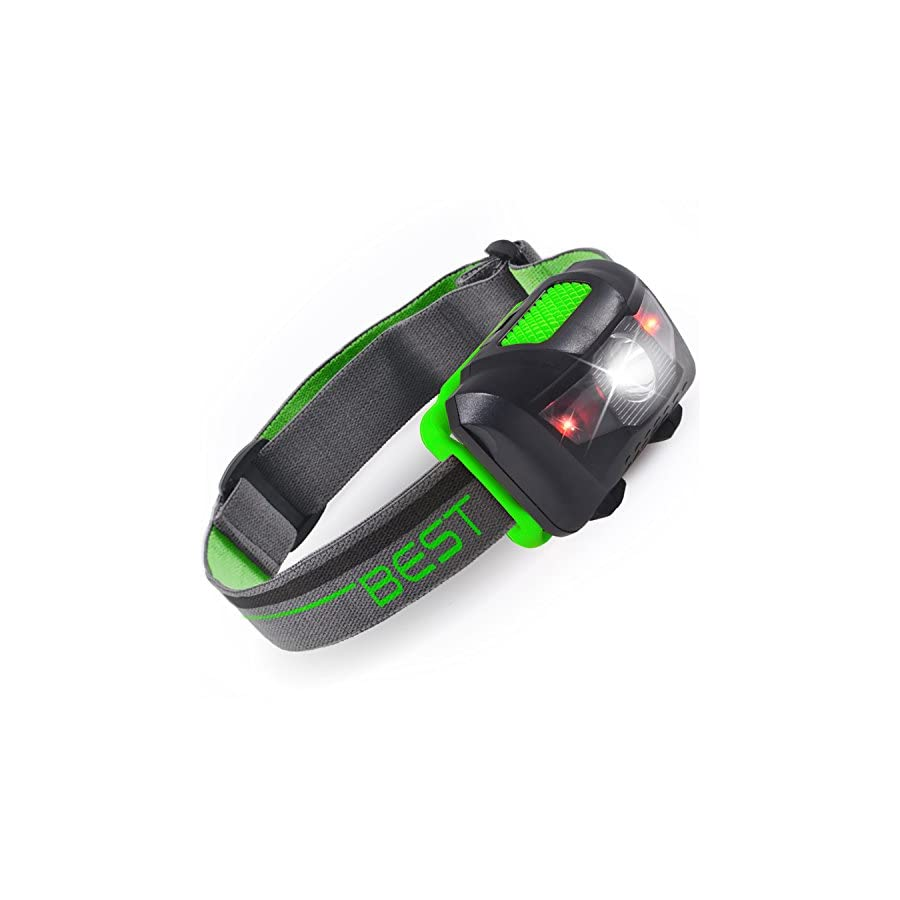 Best 120 Waterproof Headlamp with 4 Modes (White & Red LEDs)