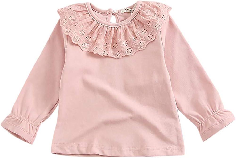 Loveablely T-Shirts b/éb/é Fille Manches Longues en Dentelle /à Volants Blouse /à col pour Le Printemps Automne Convient pour Petite Fille 6-48 Mois