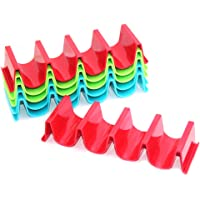 SENHAI 6 Pcs Taco Holder Stand, PP Health Material Taco Truck Tray Rack Holds up to 4 Tacos Each, Dishwasher Safe