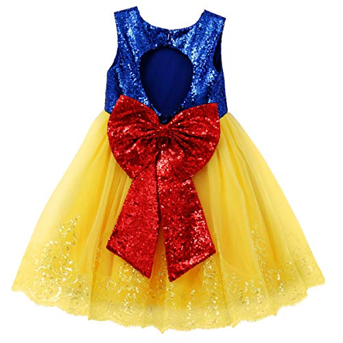 IBTOM CASTLE Princess Snow White Costume for Girls Dress Up Fancy Halloween Party Kids Long Birthday Evening Dance Gown w/Headband Clothes Sequin Yellow Bow 5-6 Years ()
