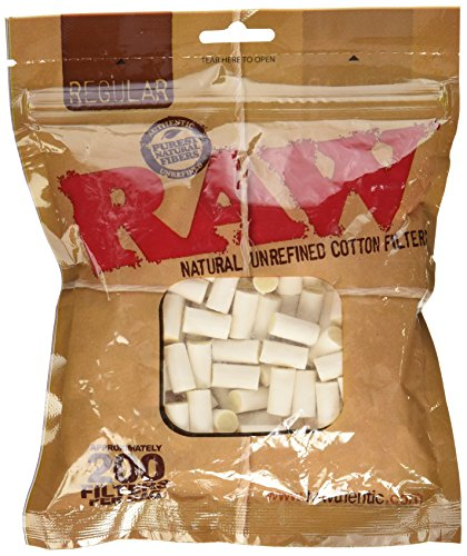 Raw Regular Natural Unrefined Cotton Filter Tips 200Pc   8Mm 1 Pack