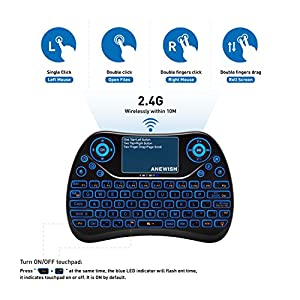 (Updated 2018, Backlit) ANEWISH 2.4GHz RF Wireless Mini Keyboard with Touchpad Mouse Combo, Rechargable & Light & Handheld Smart Remote for Google Android TV Box,PS3,PC,PAD (T2-COLOR)