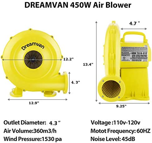 DREAMVAN Air Blower, Inflatable Blower Pump Fan Home Commercial Inflatable Bouncer Blower, Perfect for Inflatable Bounce House, Jumper, Bouncy Castle Slide, Convenient to Carry 450W 0.6HP