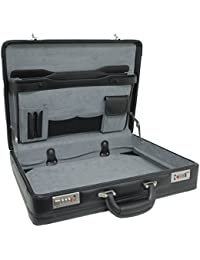 Expandable Leather Attache Briefcase Dual Combination Locks 1 Year Warranty