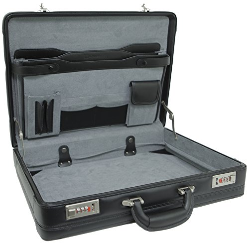 Alpine Swiss Expandable Leather Attache Briefcase Dual Combination Locks 1 Year Warranty