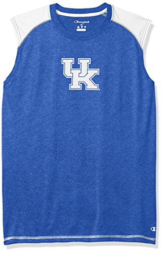 NCAA Kentucky Wildcats Men's Heather Jersey Colorblocked Muscle T-Shirt, Large, Blue Heather
