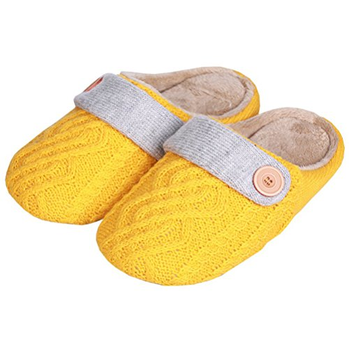 YUTIANHOME Slippers For Ladies Womens Knitted Cotton Washable Soft Warm Non-Slip Indoor Shoes Yellow/grey