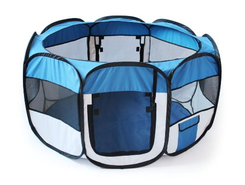 Allmax Folding Pet Playpen, Blue