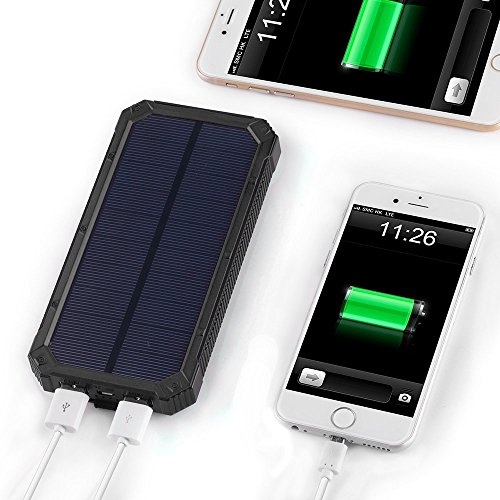 Waterproof Solar Charger Power Bank 15000mAh Solar External Battery Bank with Dual USB Portable External Solar Power Bank Charger for Iphone 7 6 Plus 5 Galaxy S7 6 5 HTC and most Smart Phones Tablets JU-TS888 (Black)