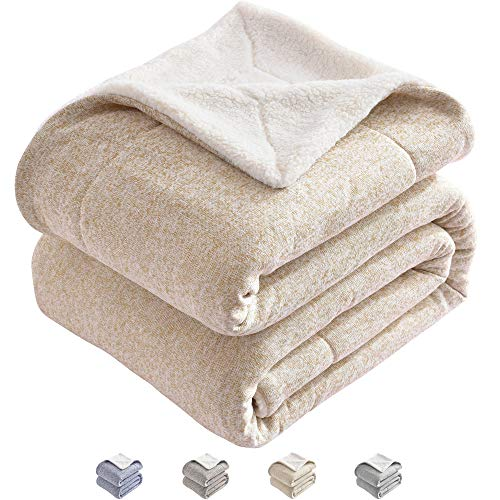 KAWAHOME Sherpa Knit Oversized Blanket Thick Warm Heather Jersey Winter Blanket for Couch Sofa Bed Queen Size 90 X 90 Inches Camel and White