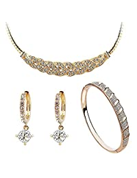 Ladies Fashion Sparkly Golden Rhinestone Crystal Earrings & Necklace & Bracelet Jwellery Set