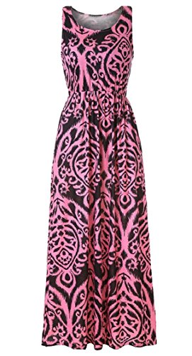 Swing Print Maxi Red Top Tank Dress Women's Sleeveless Pockets Maweisong qAIUwn