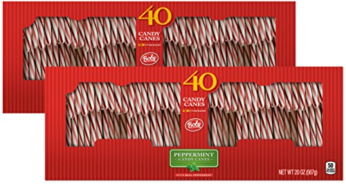 (Brach's Bobs Red and White Candy Canes Peppermint, 40 Count Canes, Pack of 2)