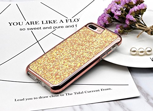 iPhone 7Plus/iPhone 8plus Case [Free Screen Protector] Shiny Glitter Sequin Hard Shell + TPU Rubber Gel Case Cover For Apple iPhone 7 Plus/ iPhone 8 Plus 5.5 inch (Sequin Pink) (Forms Strap Fashion Mate)
