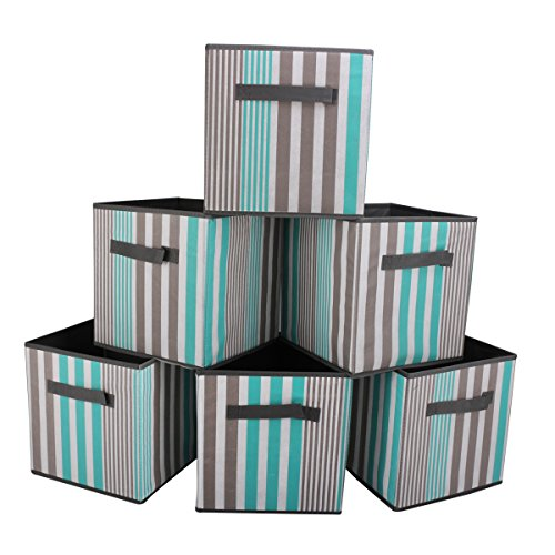 SbuyCoo Cloth Storage Bins, Set of 6 Foldable Fabric Storage Cubes Containers Organizers Basket with Dual Handles for Home, Office & Nursery