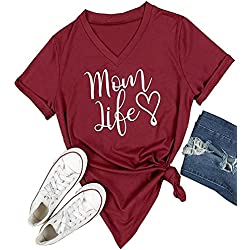 Women T-Shirts Mom Life Heart Letter Printed Oversize Short Sleeve V-Neck Tops size XX-Large (Wine Red)