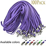 "Lanyard 100 Pack Purple Badge Lanyards Flat Lanyards Round 32"" with Badge Clip"