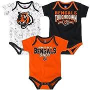 NFL by Outerstuff NFL Infant Playmaker 3 Piece Onesie Set-Black-12 Months, Cincinnati Bengals