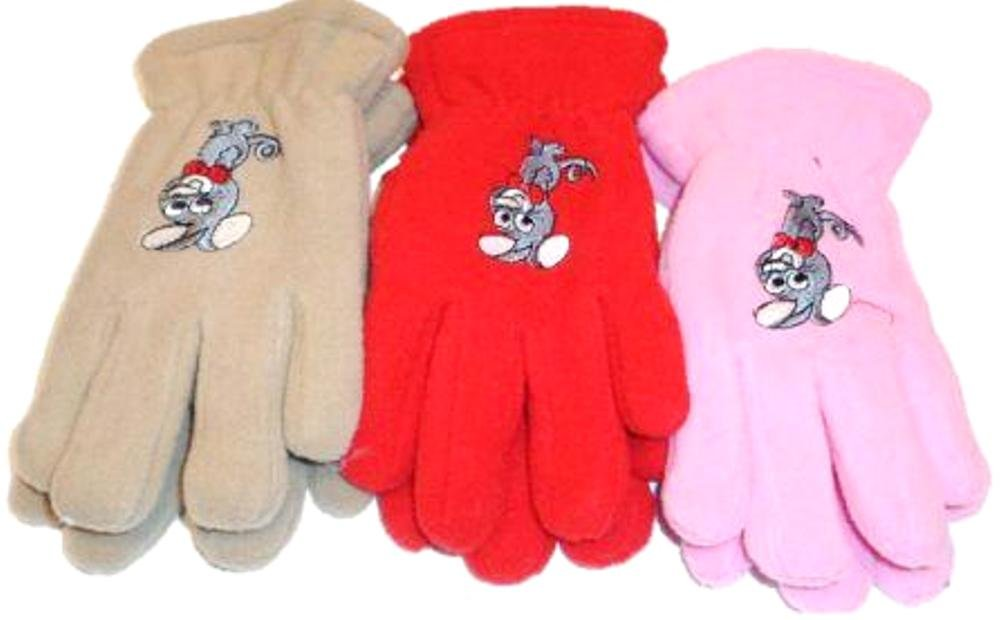 Set of Three Mongolian Fleece Gloves for Children Ages 3-5 Years