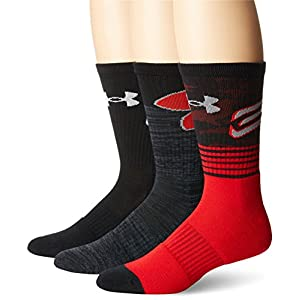 Under Armour Men's Phenom Curry Crew (3 Pack), Red/Assorted, Large