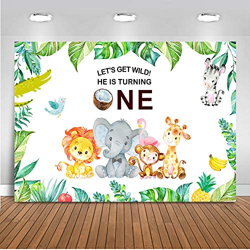 Mehofoto Wild One Backdrop Jungle Safari Animals Birthday Photography Background 7x5ft Vinyl Kids First Birthday Party Backdrops