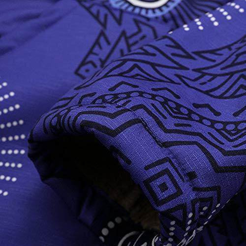 Itisme Encapuchonné Chic Manteau Taille Hiver Zipper Manteaux 5xl M Impression Manche A Molleton Épais Grande Vintage Blousons Femmes Longue Dames Bleu xxg6raOcW