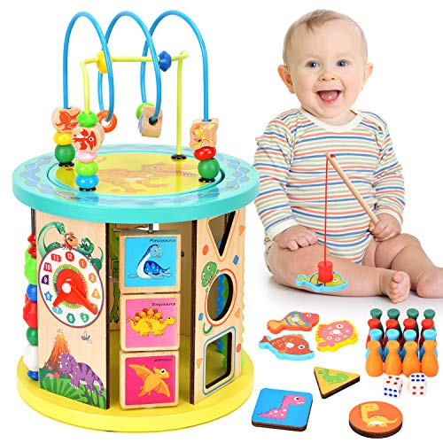BATTOP Activity Cube 10 in 1 Wooden Bead Maze Educational Toys Color Sorter for Baby's and Toddlers