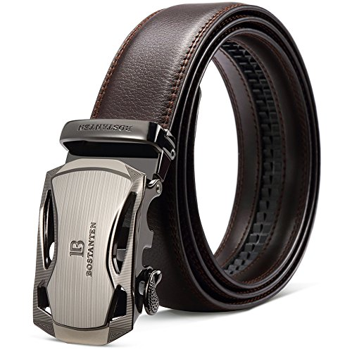 (BOSTANTEN Men's Leather Ratchet Dress Belt with Automatic Sliding Buckle Coffee )
