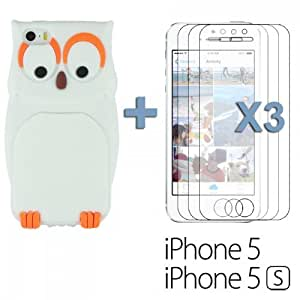 OnlineBestDigital - Owl Style 3D Soft Silicone Case for Apple iPhone 5S / Apple iPhone 5 - White with 3 Screen Protectors