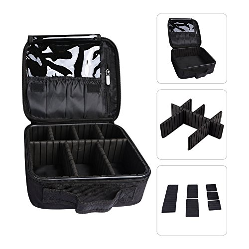 Makeup Bag Train Case Professional Multifunction Makeup Bag Makeup case Cosmetic Bag Portable Travel Toiletry Bag Double Layer Waterproof for Women Girls(Black) by AUTO PDR (Image #1)