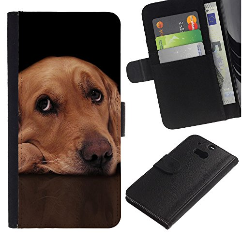 LASTONE PHONE CASE / Lujo Billetera de Cuero Caso del tirón Titular de la tarjeta Flip Carcasa Funda para HTC One M8 / Labrador Retriever Golden Guilty Dog Eyes