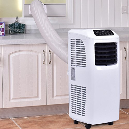 Costway 10,000 BTU Portable Air Conditioner with Remote Control Dehumidifier Function Window Wall Mount (White and Black)