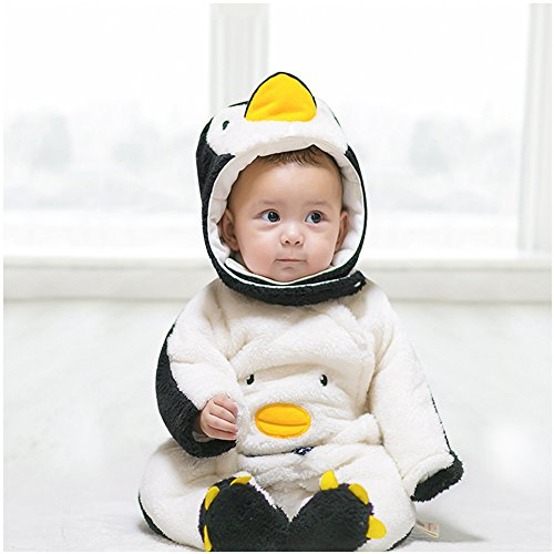 Cow Bunting Costume (Onesie, MagicQK Penguin Costume Toddler Winter Baby Jumpsuit Xmas from Newborn to 18 Months (12-18M/28