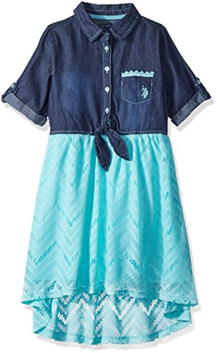 U.S. Polo Assn. Girls' Big Casual Dress, for for Look lace Mint, - Looks Mint