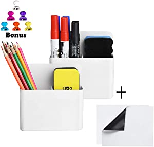 Magnetic Dry Erase Marker Holder, Pen and Eraser Holder Organizer for Whiteboard,Magnet Pencil Cup Utility Storage Organizer for Office, Refrigerator and Non-Metallic Board With 2pcs Iron Sticker