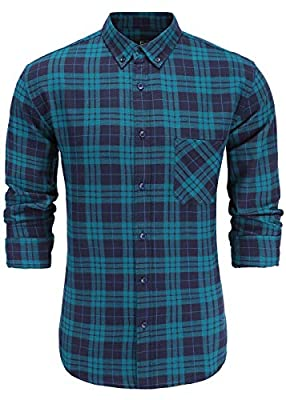 Emiqude Men's Slim Fit 100% Cotton Long Sleeve Stylish Button-Down Plaid Dress Shirt