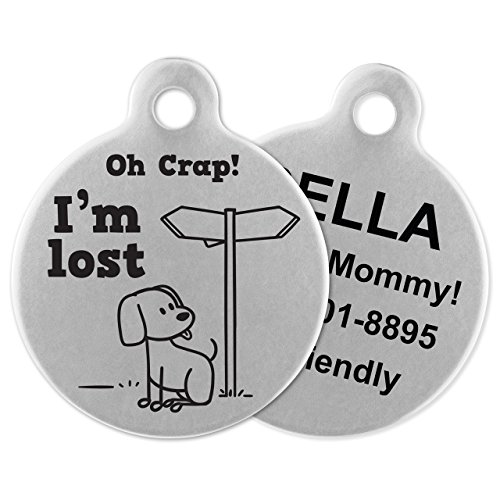 If It Barks - Engraved Pet ID Tags for Dogs - Personalized Stainless Steel Identification Tags - Custom Name Tag Attachment - Made in USA, Oh Crap! I'm Lost ()