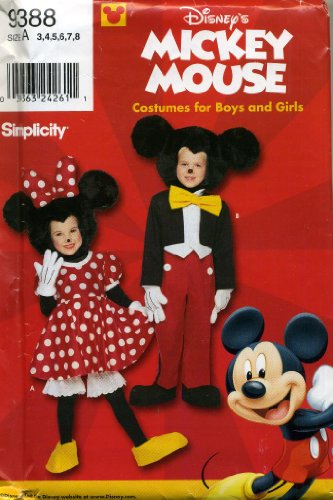 Mouse Pattern - Simplicity Disney's Mickey and Minnie Mouse Costume Sewing Pattern #9388