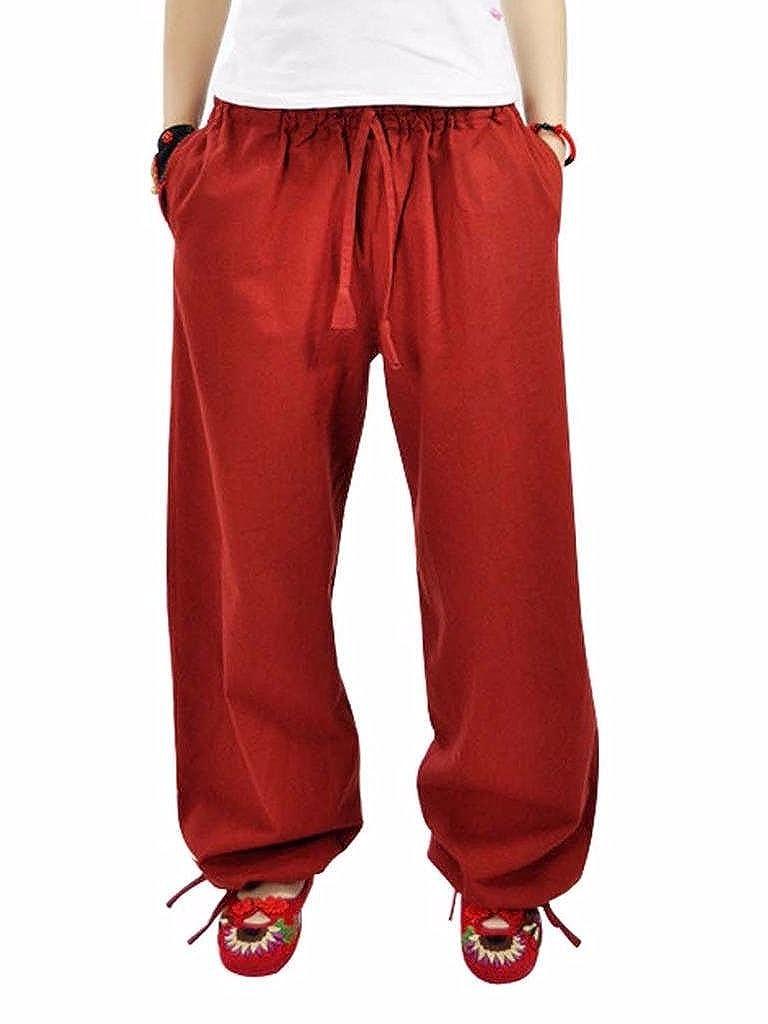 MUST WAY Womens Linen Elastic Waist Wide Leg Loose Harem Pants with Pockets